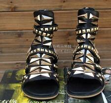 Rivet Leather Mens Sandal Gladiator High Top Chic Ankle Boot Buckle Metal Strap