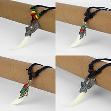 1/12 x Eagle Wing Resin White Wolf Tooth Teeth Pendant Beads Necklace Adjustable