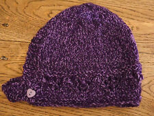 Brand New Hand Knitted Purple Flecked Baby Bonnet 0-3 / 3-6 / 6-9 Months