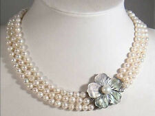 New 3 Rows 6-7mm White Akoya Pearl Necklace Shell Clasp 18K GP