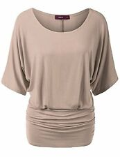 Doublju Womens Short Sleeve Round Neck Loose Fit Casual T-shirts