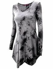 Doublju Womens Long Sleeve Tie-dye Asymmetrical Tunic Top - Choose SZ/Color