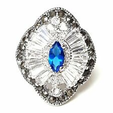 (SIZE 6,7,8) Marquise SAPPHIRE CZ Cocktail RING Marcasite .925 STERLING SILVER