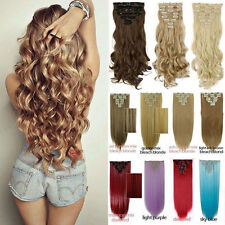 Real Natural Human 8Pcs Full Head Clip in Hair Extensions 18 clips on Fake Hair