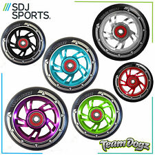 TEAM DOGZ 100MM SWIRL CORE SCOOTER WHEEL WITH BLACK TYRE & ABEC BEARINGS