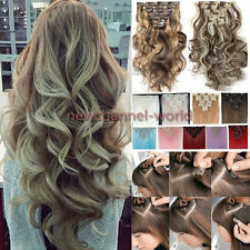 US Straight 18Clips Clip in Full Head Hair Extensions Extension As Human Hair ww