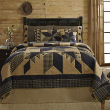 Dakota Star Quilt, Black & Tan, 8 Point Star w/Patchwork Border, Multiple Sizes