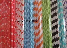 25 PACK Stripe, Polka Dot, Heart Paper, Drinking Straws PARTY