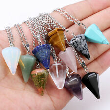 New Six Prism Cone Pendulum Plane Quartz Necklace Natural Crystal Pendant Chain