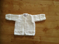 Hand Knitted White Baby Cardigan BNWT 0-3 /3-6/ 6-9/ 9-12 Months