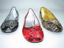 Bamboo ballerina flats pumps women's light comfort shoes faux snake