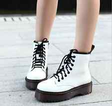 Hot Womens girls fashion lace up ankle boot flat platform punk goth creeper