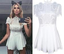 White Lace Short Sleeve Off The Shoulder Pleated Short Romper Playsuit Cute NWT