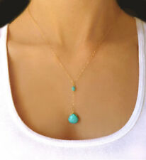 Gold Silver Classic Teardrop Nature Turquoise Bead Charm Pendant Chain Necklace