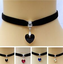 Victorian Goth Black Velvet Choker Necklace 9mm Crystal Love Heart Charm Pendant