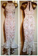 White Floral Crochet Lace Fishtail Wedding Party Occasion Midi Dress 8 10 12