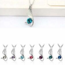 NEW Bird Wing Crystal Pendant Charm Silver Necklace Chain Women Vintage Jewelry