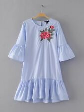 Womens Ladies Blue/White Trumpet Short Sleeves Floral Embroidered Mini Dress SML