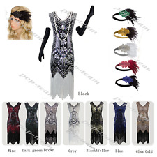Flapper Beaded Gatsby Wedding Party Roaring 20s Fancy Prom Formal Evening Dress