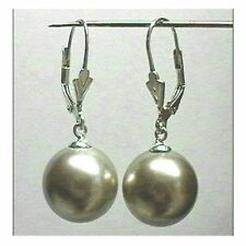 6mm 8mm 10mm OLIVE GREEN Shell Pearl Dangle EARRINGS LEVERBACK Sterling Silver