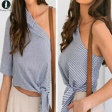 Women Ladies Casual One Off Shoulder Tops T-shirt Casual Party Striped Blouse