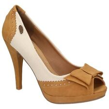 XTI Territory Ladies Shoes Peep-Toe Court shoes High Heels Leather Look camel