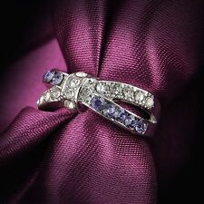 Criss Cross Purple Amethyst New Jewelry 6-10 Size Ring White Gold Filled Rings