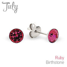 925 Sterling Silver Baby Girl Safety Push Back Stud Earrings July Birthstone