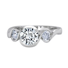 1.00 Ct Round Channel Set Three Stone Gemstone Ring Solid 10K White Gold