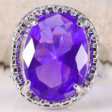 925 Silver Natural Huge 6.8Ct Oval Cut Amethyst Ring Wedding Engagement Size 6-9