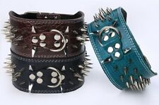 """3"""" WIDE RAZOR SHARP Spiked Studded PU Leather Dog Pet Collar 3ROWS 19-22"""" 21-24"""""""