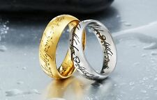 """Lord of the Rings """"The One Ring"""" Bilbo's Hobbit Ring Silver Ring Size 6 - 13"""