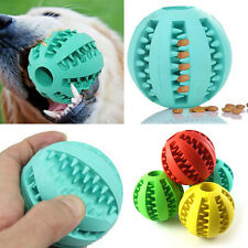 Dog Pet Puppy Cat Rubber Ball Chew Treat Cleaning Training Dental Teeth Toy JS