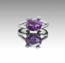 925 Sterling Silver Ring with Oval Natural Purple Amethyst Gemstone Handcrafted.