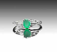 925 Sterling Silver Ring with Natural Green Emerald Gemstone Handcrafted eBay.