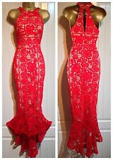 Red Floral Crochet Lace Fishtail Party Occasion Cocktail Evening Dress 10 12 14