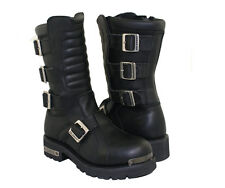 Xelement Black Leather Executioner Motorcycle Boots