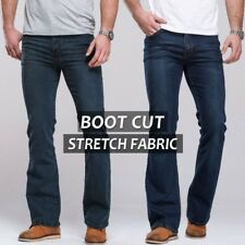 Mens jeans boot cut leg slightly flared slim fit famous