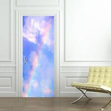 Rainbow Sky Clouds DOOR WRAP Decal Wall Sticker Mural Personalized ANY NAME D90