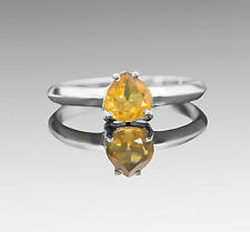925 Sterling Silver Ring with Pear Cut Yellow Citrine Natural Gemstone Handmade.