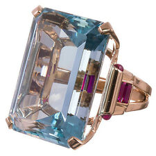 925 Silver 10.4CT Aquamarine Jewelry Rose Gold Filled Wedding  Ring Size 6-10