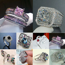 925 Silver Ring Men Women White Topaz Pink Sapphire Wedding Vtg Size 6-12