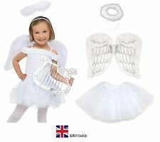 Kids NAVITY ANGEL Fairy Wings Halo Fancy Dress Costume Christmas Party WHITE