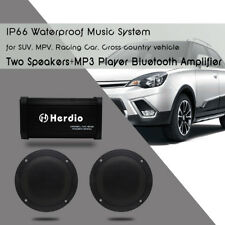 Motorcycle Bluetooth Amplifier MP3 Player Sound System For Boat Car+4''Speakers