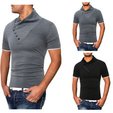 Summer Men Oblique Button Fitted Short Sleeve Casual Shirt Basic Tee Blouse Tops