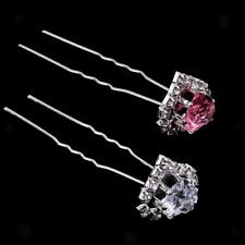 12Pcs Love Heart Diamante Crystal Hair Pins Clips Prom Wedding Bridal Party