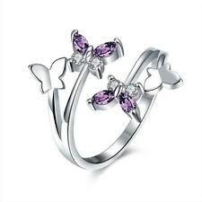 Women's Fashion Butterfly Adjustable Ring Purple Crystal Finger Ring Jewelry