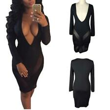 WOMEN LONG SLEEVE LOW-CUT PLUNGE FRONT BODYCON EVENING PARTY MINI DRESS NICE
