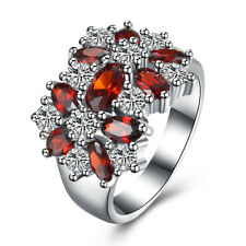 Women 18K White Gold Plated Oval Ruby Crystal Engagement Ring Wedding Jewelry