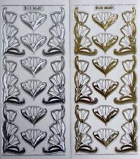 Embossed on Clear Gold or Silver Tulip Corners PEEL OFF STICKERS Flowers Corner